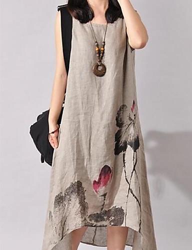 غير متماثل طباعة, ورد - فستان فضفاض قطن قياس كبير شينوسيري عطلة / ذهاب للخارج / شاطئ للمرأة / ربيع / صيف / الأزهار، النماذج