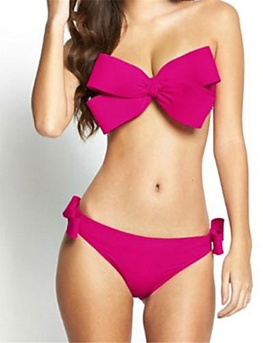 billige Dametopper-Dame Bandeau Stroppeløs Rosa Gul Fuksia Bandeau Underbukser Bikini Badetøy - Ensfarget Sløyfe M L XL Rosa / Super Sexy
