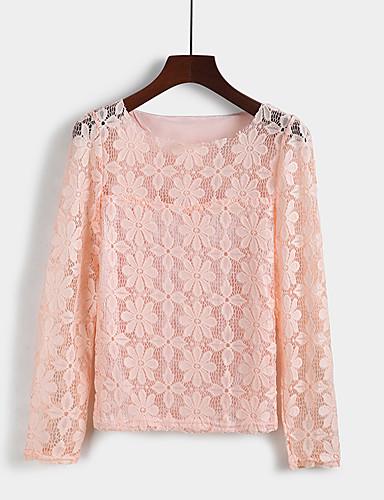 billige Dametopper-Tynn Store størrelser Bluse Dame - Ensfarget, Blonde Gatemote Ferie Dusty Rose Grønn / Vår / Høst / Vinter
