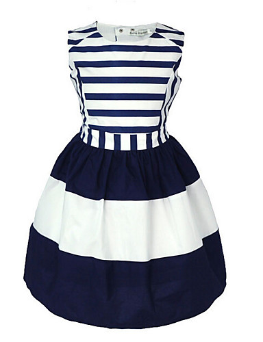 5f937b07e Toddler Girls' Sweet Daily Holiday Blue & White Striped Sleeveless Cotton Dress  Navy Blue