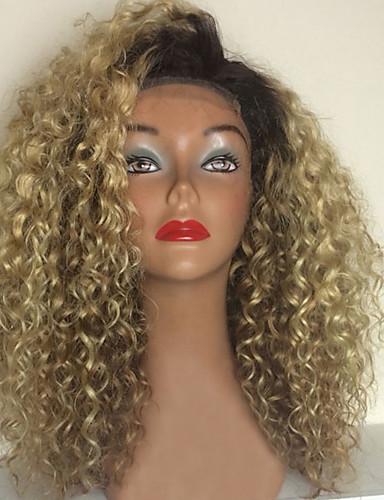 povoljno Perike s ljudskom kosom-Ljudska kosa Perika s prednjom čipkom bez ljepila Lace Front Perika Rihanna stil Brazilska kosa Kinky Curly Ombre u dvije nijanse Perika 150% Gustoća kose s dječjom kosom Ombre Prirodna linija za