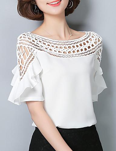 abordables Camisas y Camisetas para Mujer-Mujer Sofisticado Noche Blusa, Escote Barco Un Color Blanco XL / Cortado