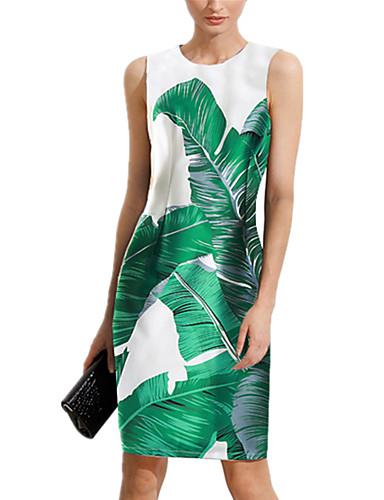 Mulheres Para Noite Sofisticado Delgado Bainha Vestido - Estampado, Floral Altura dos Joelhos / Verão