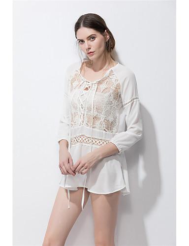 Dámské Jednobarevné Geometrický Velké velikosti Roztomilé Tričko Hedvábí Bavlna Umělé hedvábí Bez ramínek Dlouhý rukáv
