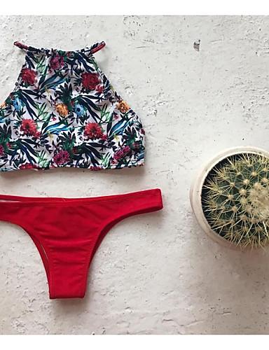 billige Dametopper-Dame Blomster stuper halsen Snøring Grime Rød Bikini Badetøy - Blomstret S M L Rød