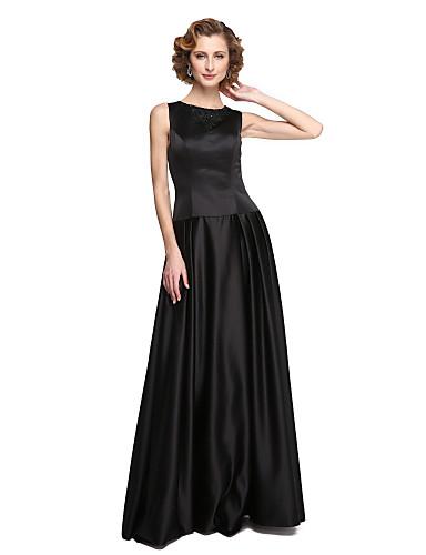 Corte en A Joya Hasta el Suelo Satén Estirado Vestido de Madrina con Cuentas / Apliques / Recogido por LAN TING BRIDE®