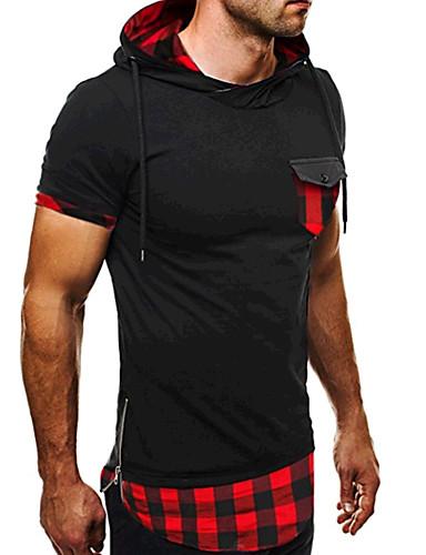 cheap Men's Tees & Tank Tops-Men's Daily Sports Active Cotton Slim T-shirt - Plaid Patchwork Hooded Blue L / Short Sleeve / Summer