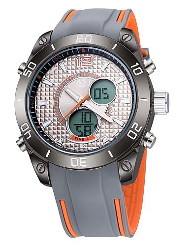 ASJ Armbåndsur emittere Vannavvisende, Kalender, Selvlysende Oransje / Rød / Blå / To år / Rustfritt stål / Japansk / LCD / Dobbel Tidssone