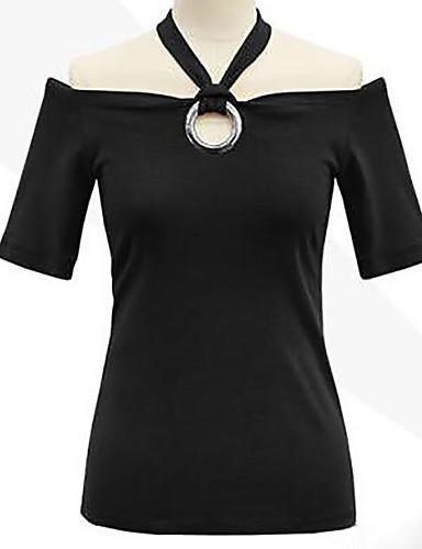 Mulheres Tamanhos Grandes Camiseta Sólido Algodão Decote Canoa