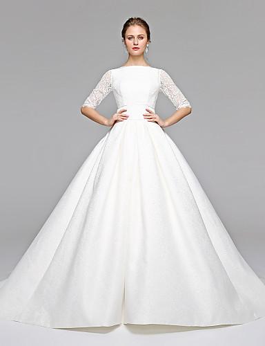 Prinzessin Bateau Hals Pinsel Schleppe Spitze Satin Hochzeitskleid mit Schleife Schärpe / Band durch LAN TING BRIDE®