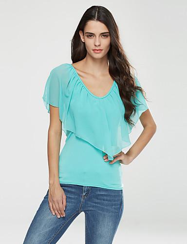 여성 솔리드 V 넥 짧은 소매 티셔츠,단순한 캐쥬얼/데일리 폴리에스테르 여름 얇음