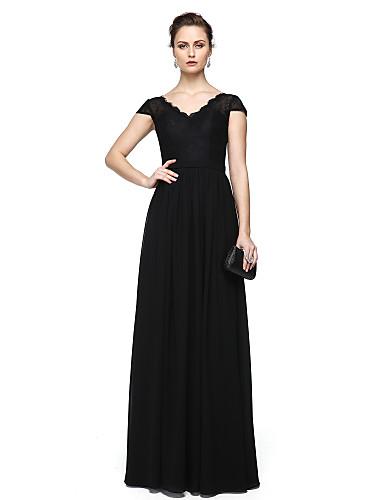 Tubinho Decote V Longo Chiffon / Renda Evento Formal Vestido com Aplicação de renda de TS Couture®