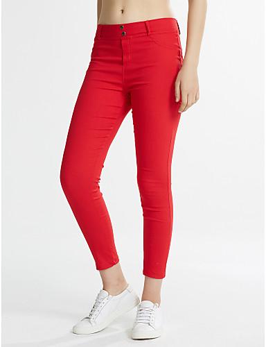 Dames Effen Katoen Medium Effen kleur Legging, Zwart Mosterd Rood Blauw
