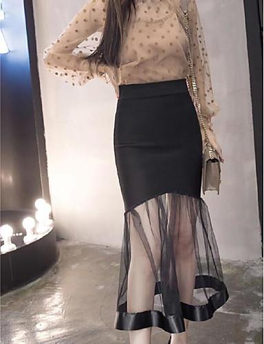 Damen Aktiv Lässig/Alltäglich Midi Röcke A-Linie,Reine Farbe einfarbig Sommer