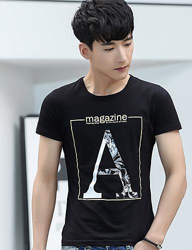 남성 문자 라운드 넥 짧은 소매 티셔츠,심플 캐쥬얼/데일리 면 얇음