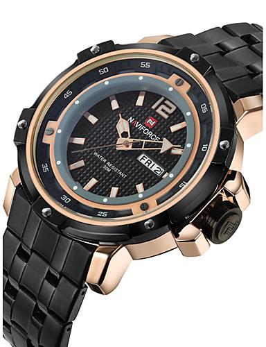 NAVIFORCE Homens Relógio Esportivo / Relógio de Pulso Calendário / Legal Aço Inoxidável Banda Luxo / Casual / Fashion Preta