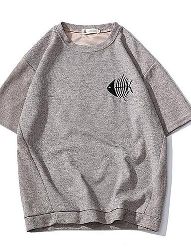 남성 프린트 라운드 넥 짧은 소매 티셔츠,단순한 캐쥬얼/데일리 면 여름 불투명 얇음