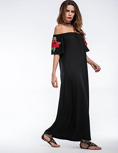 Mulheres Feriado / Para Noite Moda de Rua Bainha Vestido - Franjas, Bordado Cintura Alta Longo Preto / Verão