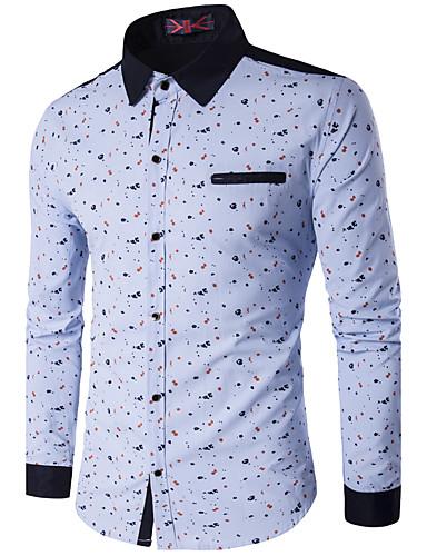 남성 프린트 스탠딩 카라 긴 소매 셔츠,심플 액티브 캐쥬얼/데일리 작동 폴리에스테르