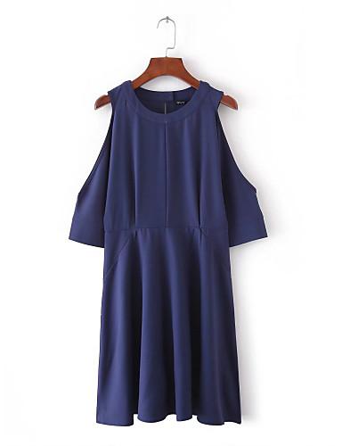 여성 루즈핏 시프트 드레스 데이트 캐쥬얼/데일리 단순한 스트리트 쉬크 솔리드,라운드 넥 무릎 위 짧은 소매 실크 면 여름 가을 중간 밑위 약간의 신축성 중간