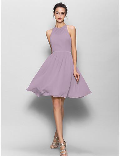 2958a55cfa78 Γραμμή Α Με Κόσμημα Μέχρι το γόνατο Ζορζέτα Φόρεμα Παρανύμφων με Ζώνη /  Κορδέλα / Πλισέ με LAN TING BRIDE®