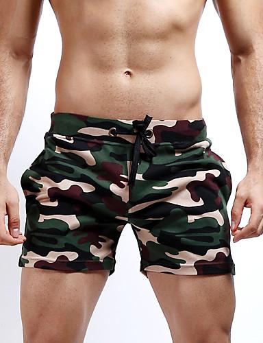Χαμηλού Κόστους Men's Bottoms-Ανδρικά Ενεργό / Κομψό στυλ street / Στρατιωτικό Βαμβάκι Ίσια / Λεπτό / Σορτσάκια Παντελόνι - καμουφλάζ Γκρίζο / Παραλία / Σαββατοκύριακο