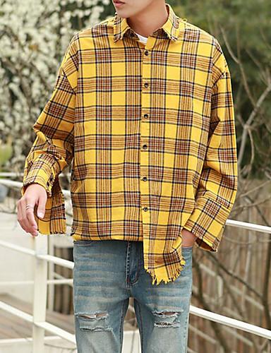 남성 프린트 셔츠 카라 긴 소매 셔츠,심플 캐쥬얼/데일리 면 봄 여름 얇음