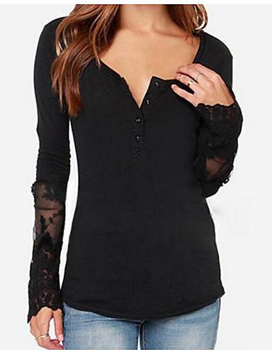 여성용 솔리드 V 넥 티셔츠 면