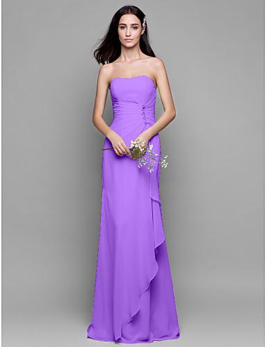 Ίσια Γραμμή Στράπλες Μακρύ Σιφόν Φόρεμα Παρανύμφων με Κρυστάλλινη λεπτομέρεια Με διαδοχικές σούρες με LAN TING BRIDE®