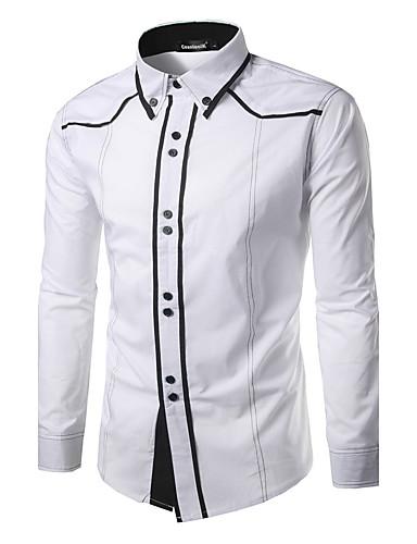 abordables Camisas de Hombre-Hombre Activo Algodón Camisa, Cuello Inglés Bloques / Retazos Negro L / Manga Larga / Primavera / Otoño