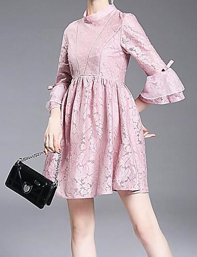 여성 A 라인 드레스 캐쥬얼/데일리 솔리드,라운드 넥 미니 ½ 길이 소매 면 여름 중간 밑위 약간의 신축성 중간