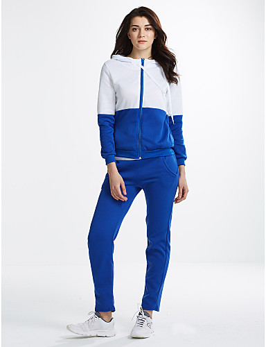 Women's Sports Cute Activewear Set Color Block Micro-elastic Cotton Long Sleeve Fall