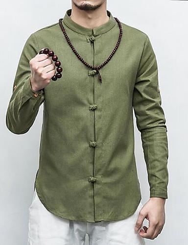 hesapli Erkek Gömlekleri-Erkek Keten İnce - Gömlek Desen, Solid Boho / Çin Stili Koyu Mavi / Uzun Kollu / Bahar / Sonbahar / Dik Yaka
