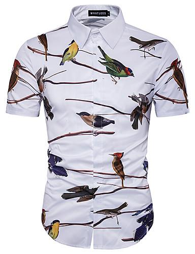 voordelige Herenoverhemden-Heren Print Grote maten - Overhemd Katoen dier Slank Wit / Korte mouw / Zomer