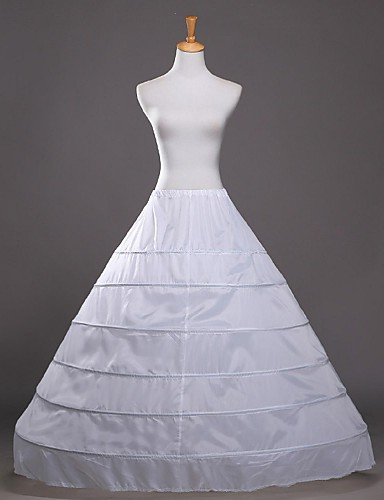 Casamento Festa / Noite Anáguas Algodão Poliéster Comprido Com Brilho Slip Linha-A Slip de Baile com Laço Branco