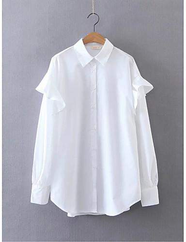 여성 줄무늬 셔츠 카라 긴 소매 셔츠,단순한 섹시 스트리트 쉬크 데이트 캐쥬얼/데일리 면 여름 얇음 중간