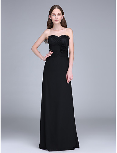 Sheath / Column Strapless Sweep / Brush Train Chiffon Bridesmaid Dress with Flower(s) Lace Side Draping by LAN TING BRIDE®