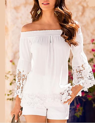 abordables Camisas y Camisetas para Mujer-Mujer Noche Camiseta, Escote Barco Un Color Blanco XL / Verano