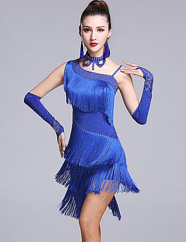 7b63fb284e Latin Dance Dresses Women's Performance Viscose Tassel / Crystals /  Rhinestones Sleeveless Natural Dress / Gloves / Shorts
