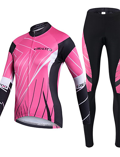 cheap Cycling Clothing-Realtoo Women's Long Sleeve Cycling Jersey with Tights - Black / Pink Bike Clothing Suit Breathable 3D Pad Quick Dry Ultraviolet Resistant Back Pocket Sports Lycra Classic Mountain Bike MTB Road Bike