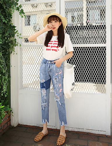 Damen Einfach Hohe Hüfthöhe Unelastisch Jeans Gerade Hose einfarbig