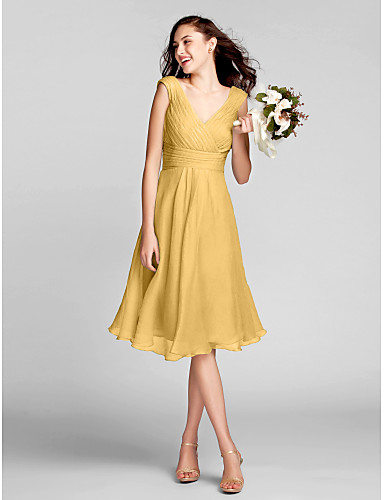 cheap Bridesmaid Dresses-A-Line V Neck Knee Length Chiffon Bridesmaid Dress with Draping / Ruched / Criss Cross by LAN TING BRIDE®