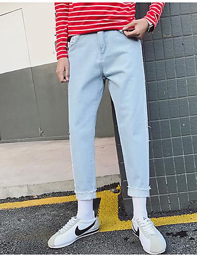 Dámské Jednoduchý Není elastické Džíny Kalhoty Štíhlý Mid Rise Jednobarevné