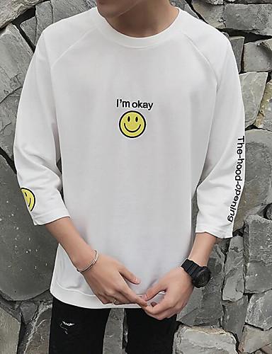 남성 프린트 라운드 넥 ¾ 소매 티셔츠,심플 캐쥬얼/데일리 면 얇음