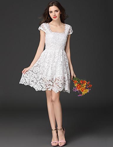 Mulheres Festa / Feriado Evasê / Bainha Vestido Sólido Decote Quadrado Acima do Joelho Branco