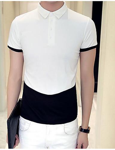 남성 패치 워크 셔츠 카라 짧은 소매 Polo,심플 캐쥬얼/데일리 면