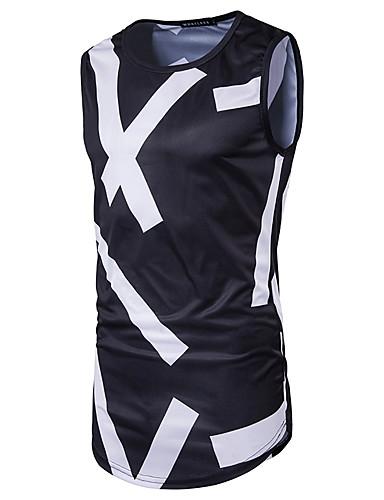 남성 줄무늬 라운드 넥 민소매 티셔츠,심플 액티브 데이트 캐쥬얼/데일리 면 여름 불투명