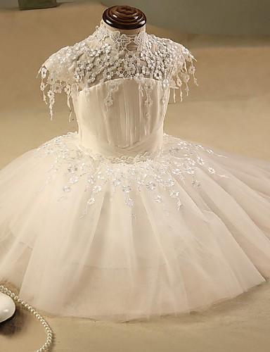 Ballkleid kurz / Mini Blume Mädchen Kleid - Organza kurzen Ärmeln hohen Hals mit Applikation von ydn
