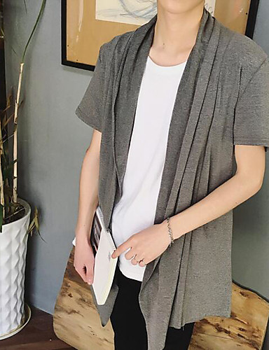 남성 솔리드 셔츠 카라 짧은 소매 셔츠,심플 캐쥬얼/데일리 면 여름 얇음