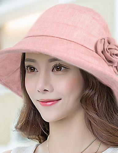 Mulheres Casual Algodão, Chapéu de sol Sólido